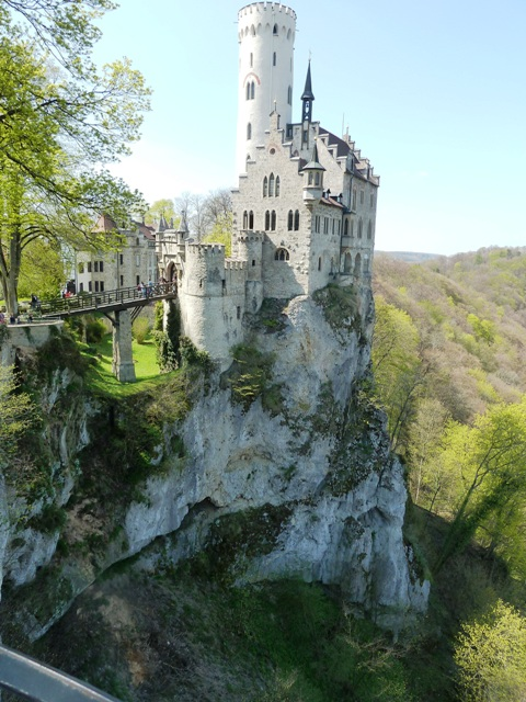 The castle is perched on a cliff overlooking Honau in the Swabian Alps